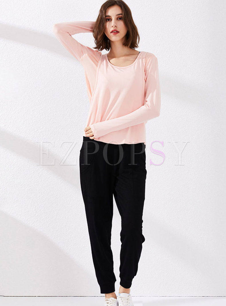 O-neck Long Sleeve Quick-drying Loose Tracksuit