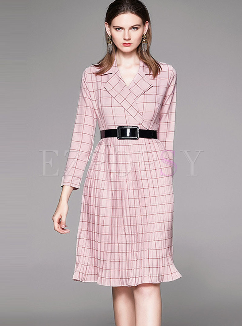 Pink Notched Waist Plaid Pleated Skater Dress