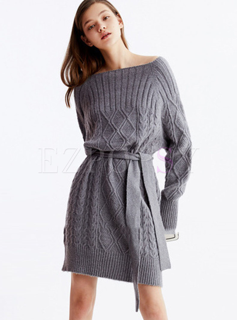 Slash Collar A Line Sweater Dress With Belt