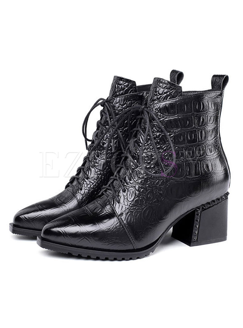 Pointed Head Chunky Heel Short Boots