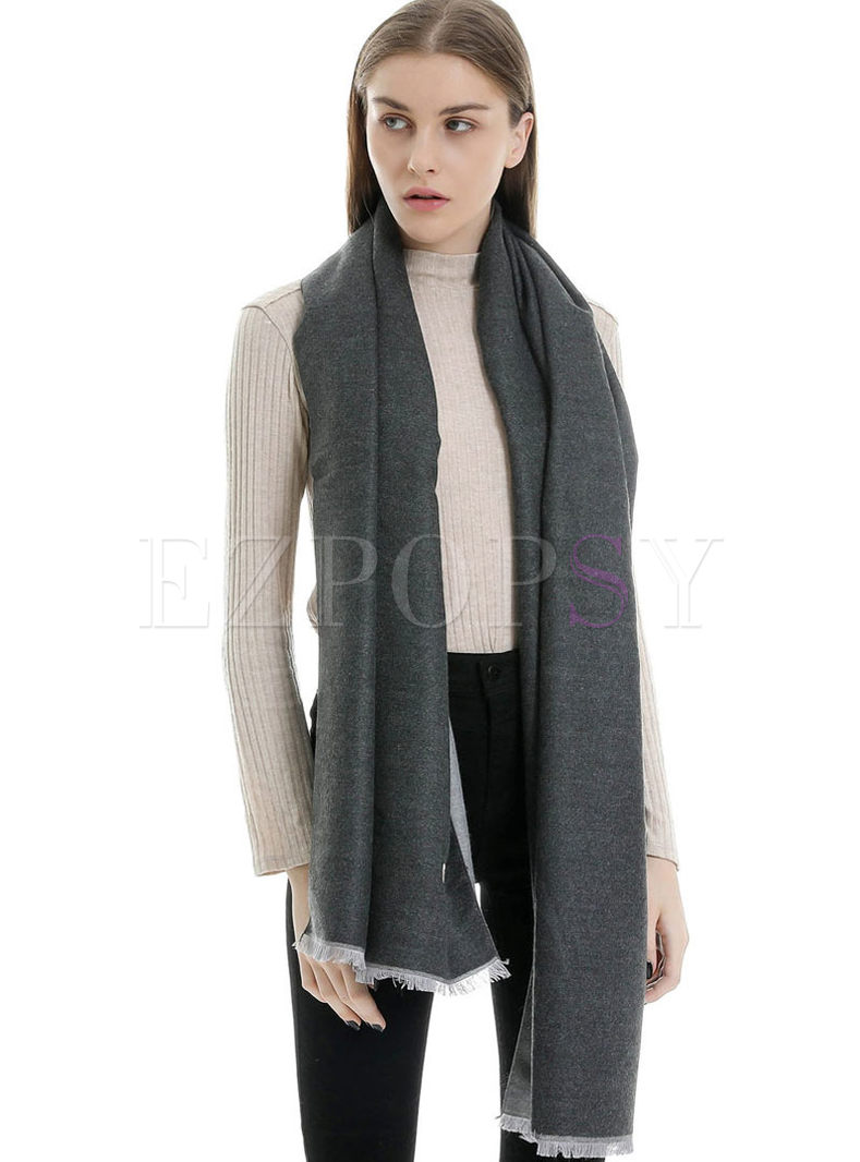 Color-blocked Faux Cashmere Fringed Scarf