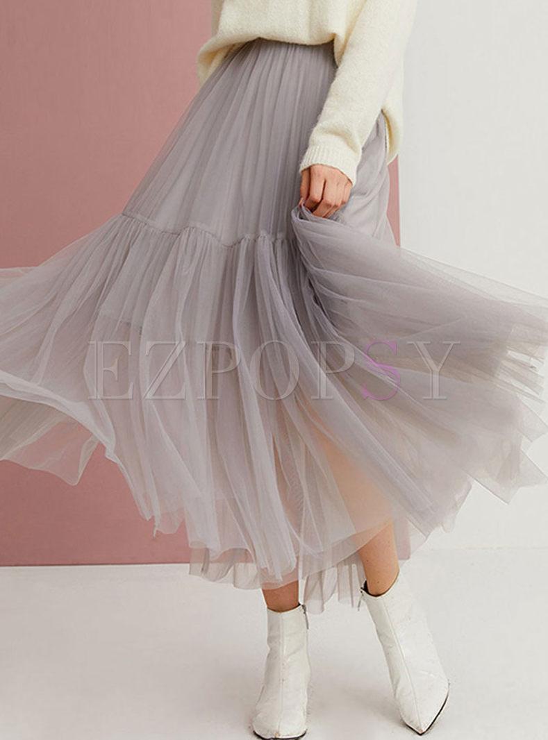 High Waisted Big Hem Mesh Skirt