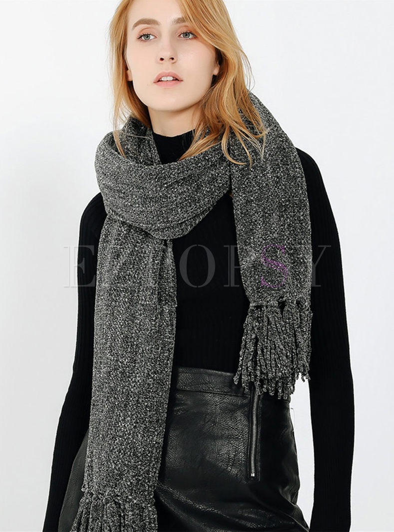 Brief Solid Color Soft Fringed Scarf