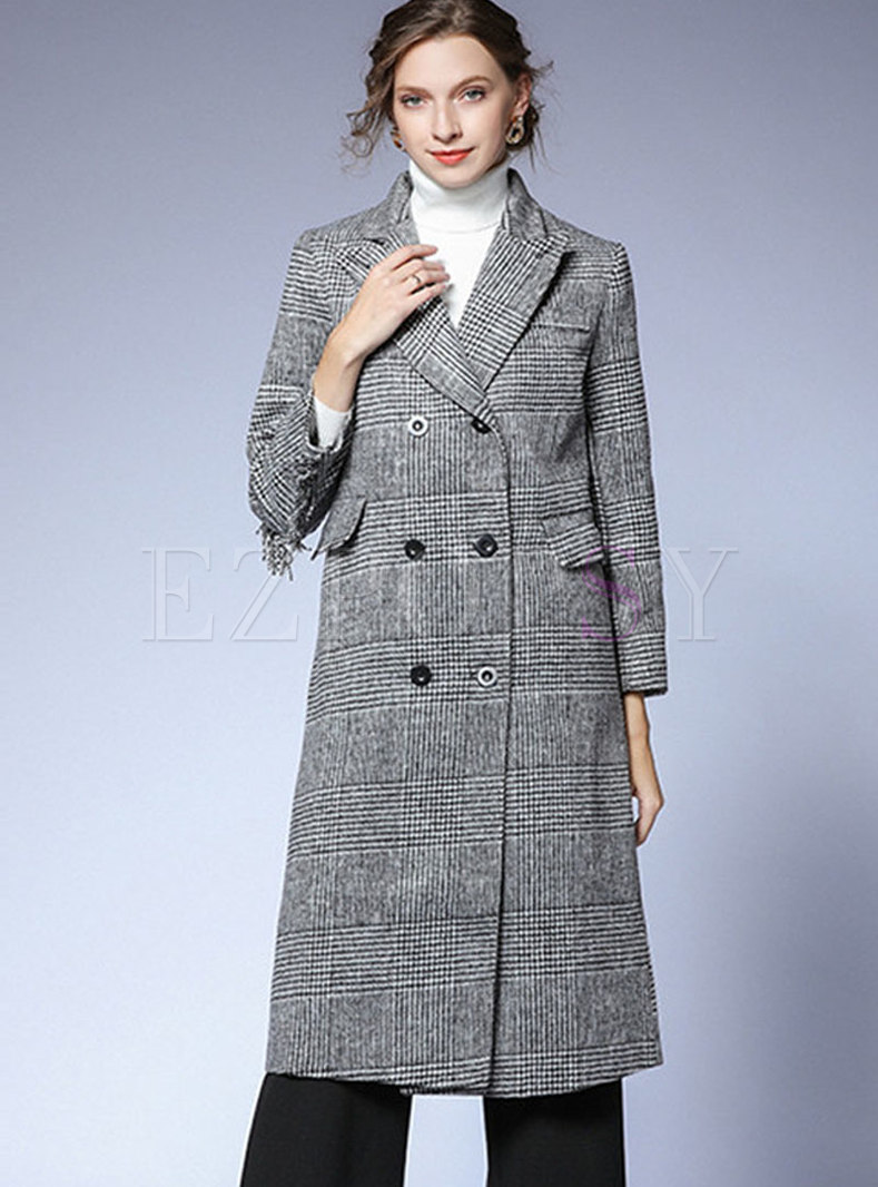 Notched Fringed Plaid Long Peacoat