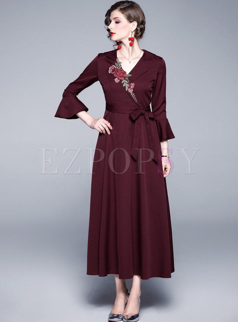 V-neck Embroidered High Waisted A Line Maxi Dress