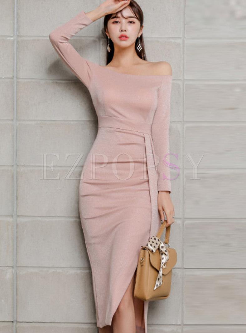 Slash Collar Patchwork Slit Bodycon Dress