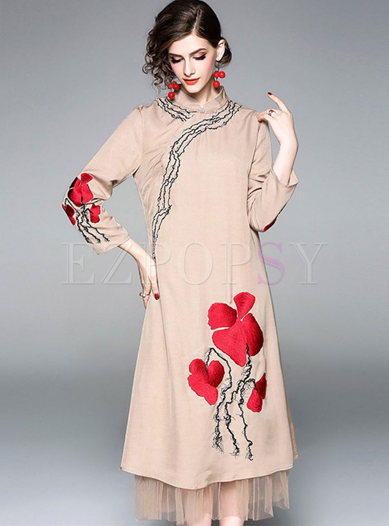 Mandarin Collar Embroidered Maxi Dress