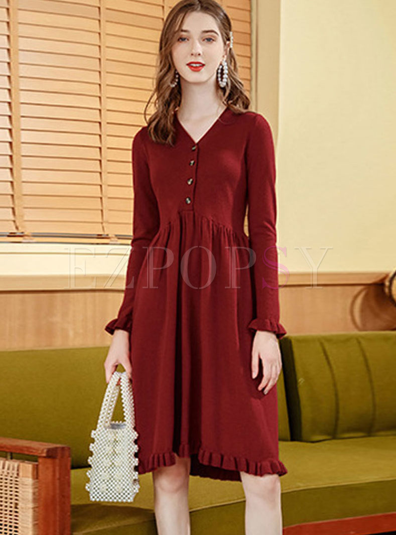 Red V-neck Long Sleeve Sweater Dress