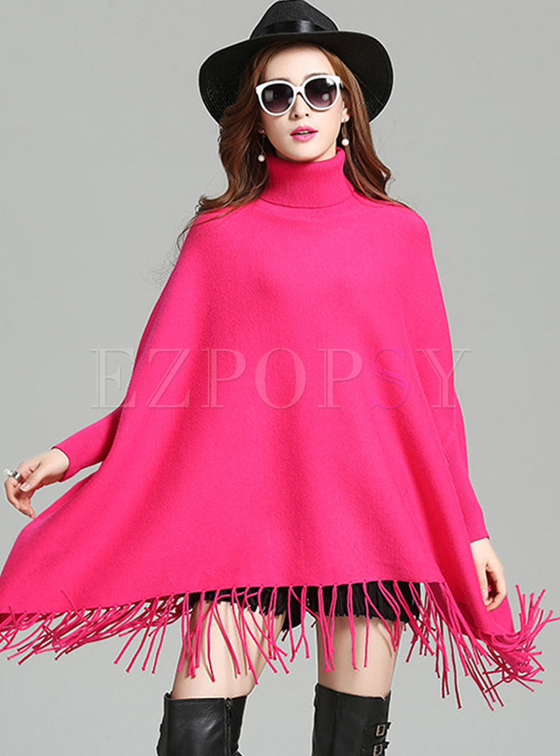 Loose Pure Color Tassel Patch Sweater