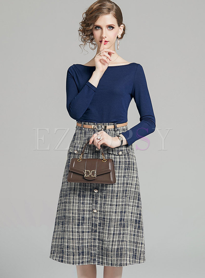 Slash Collar Slim Top & High Waisted Plaid Skirt