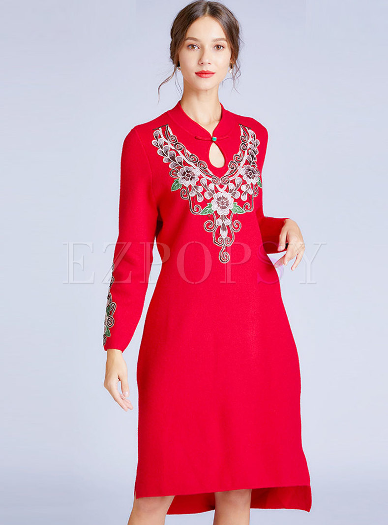 Red V-neck Embroidered Shift Dress