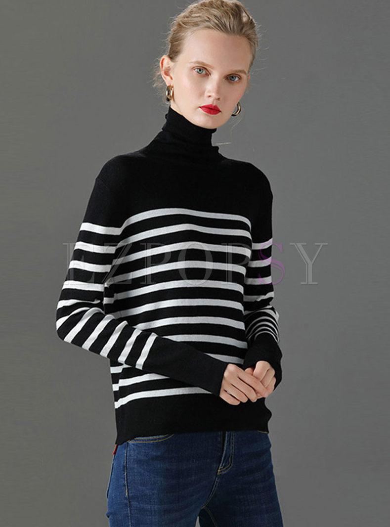 Turtleneck Striped Slim Thin Sweater