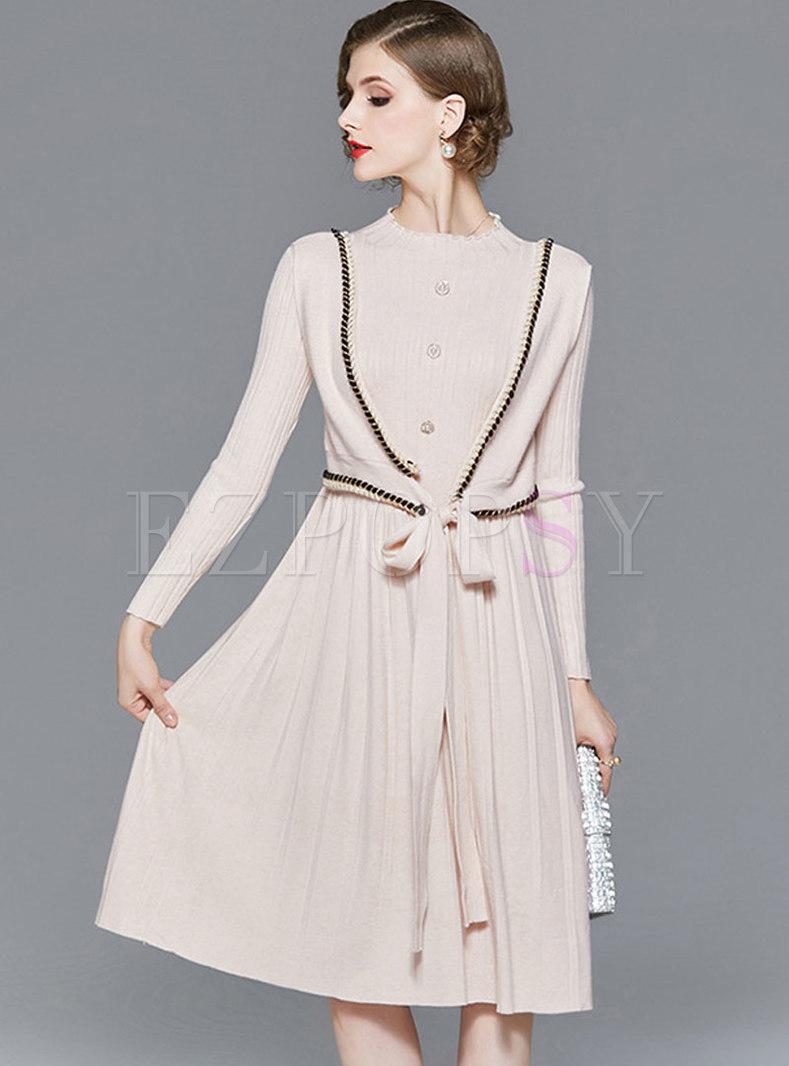 Mock Neck Patchwork Bowknot A Line Sweater Dress