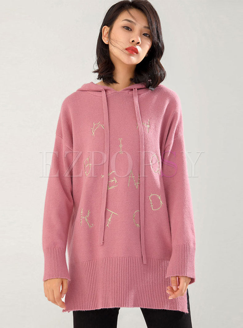 Long Sleeve Pullover Letter Print Hoodie