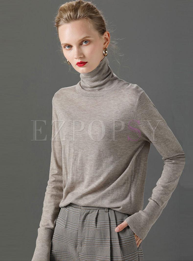 Cowl Neck Long Sleeve Slim Sweater