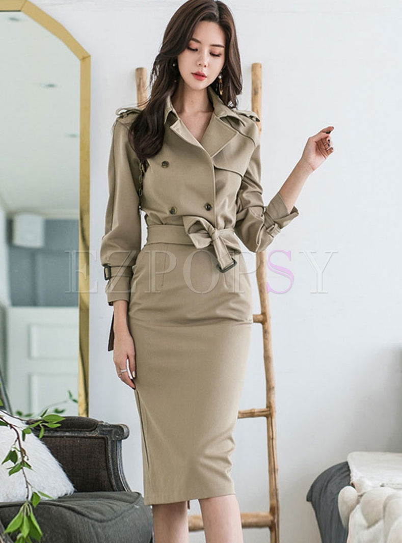 Khaki Lapel Long Sleeve Bodycon Dress