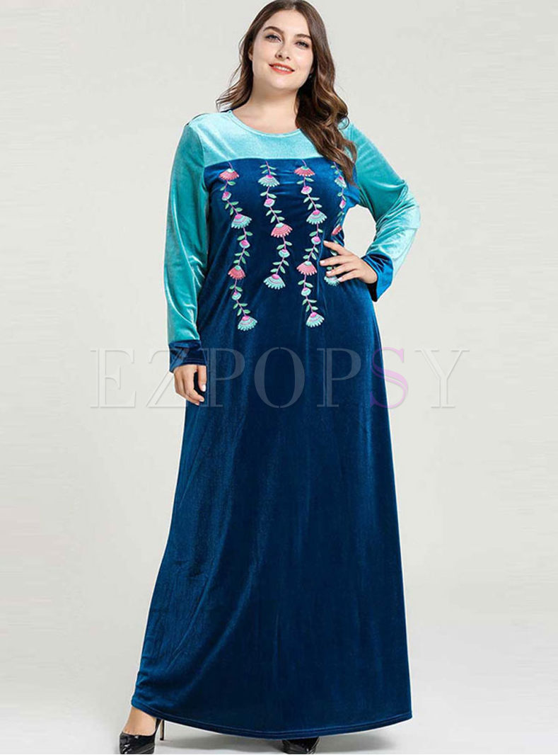 Long Sleeve Patchwork Embroidered Maxi Dress