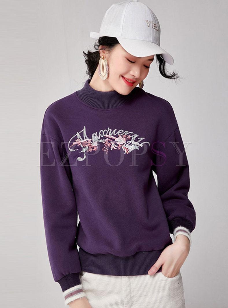 Mock Neck Letter Embroidered Sweatshirt