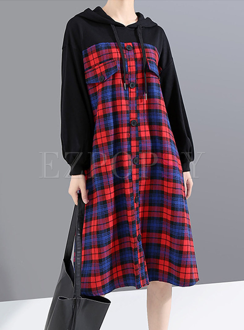 Plaid Patchwork Tie Hooded Sweatshirt Dress