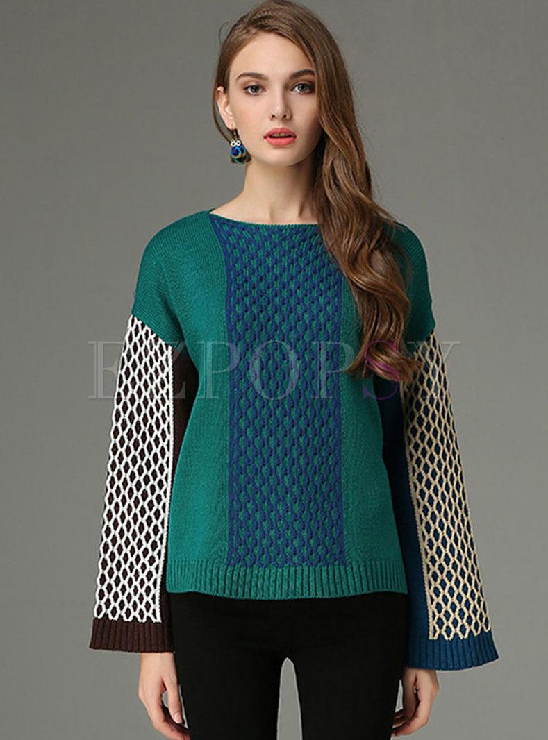 Crew Neck Color-blocked Slit Sweater