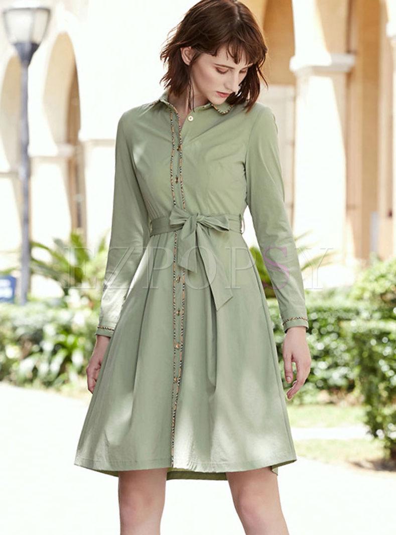 Long Sleeve Single-breasted Shirt Dress