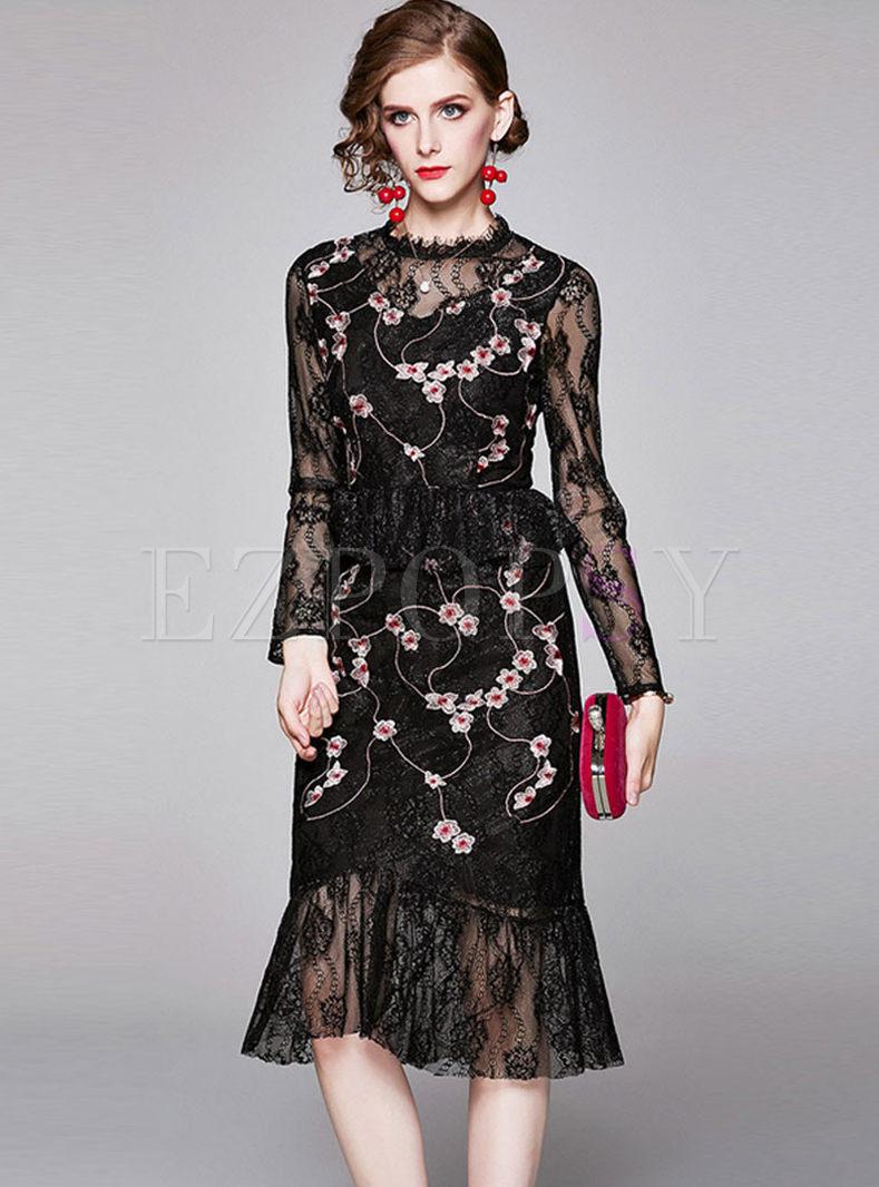 Black Long Sleeve Lace Peplum Bodycon Dress