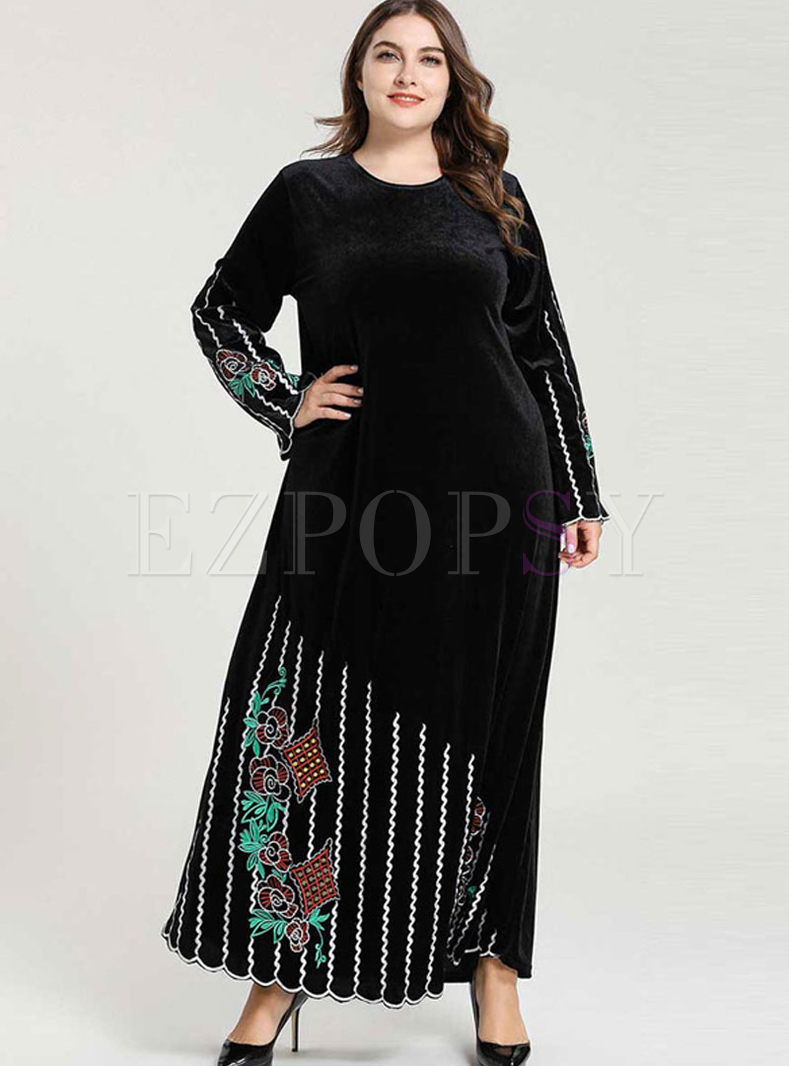 Plus Size Striped Embroidered Maxi Dress