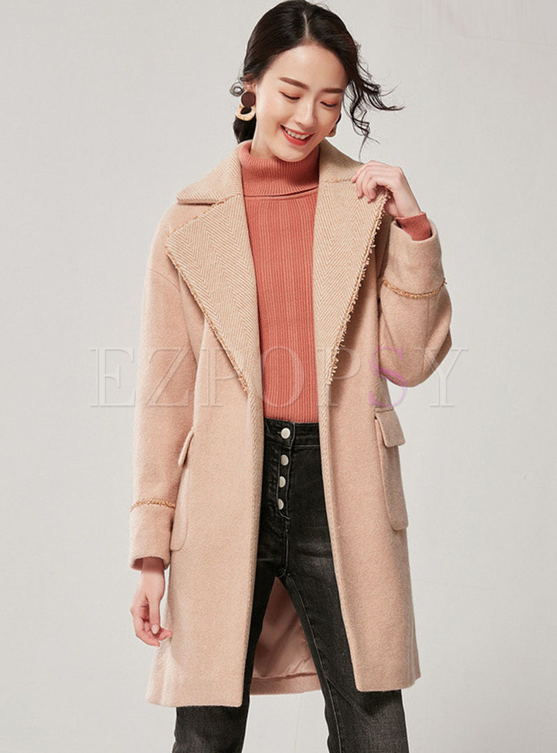 Notched Straight Thick Coat With Belt