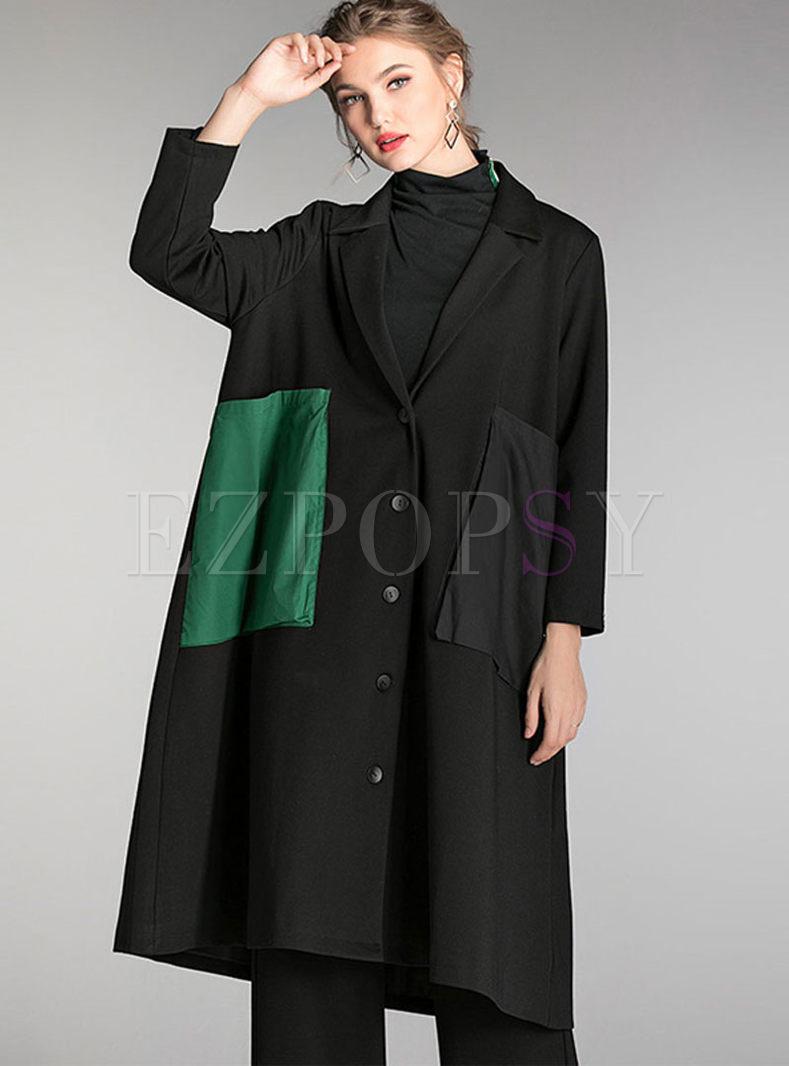 Black Notched Patch Plus Size Coat