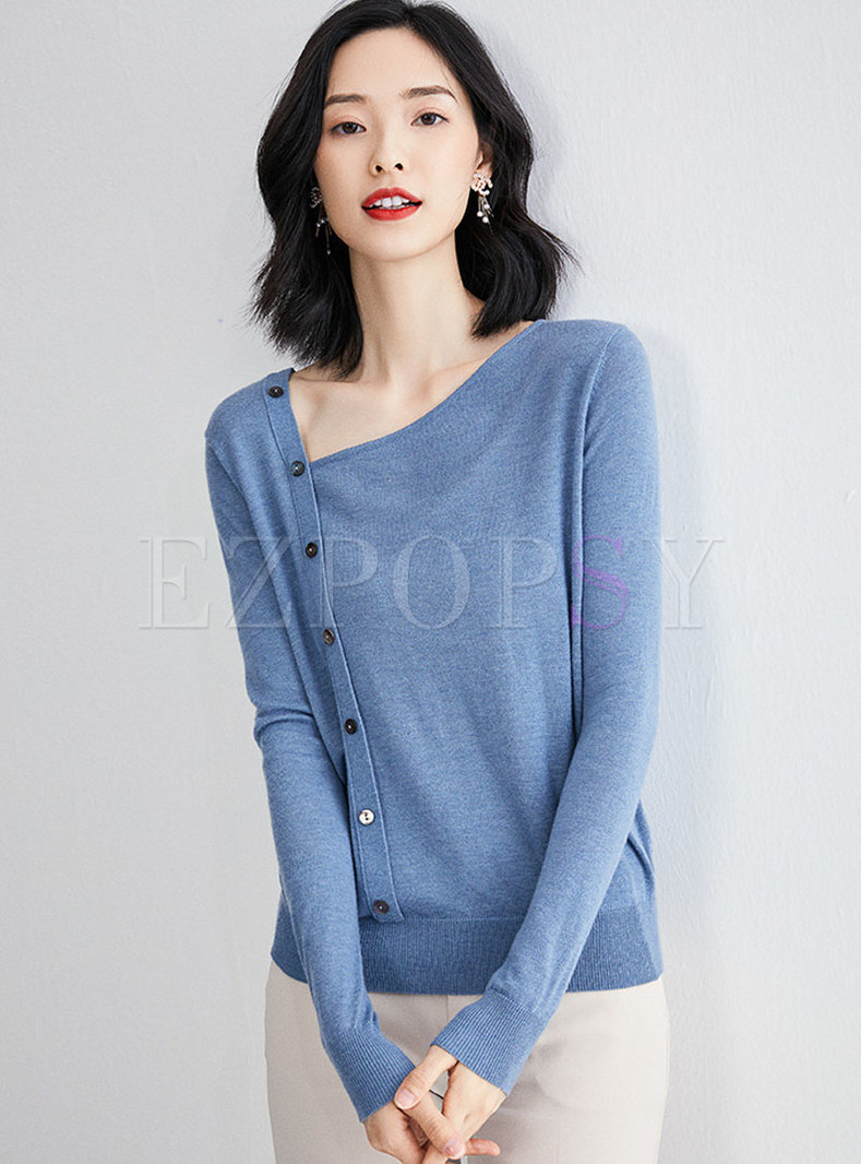 Solid Color V-neck Single-breasted Slim Pullover Sweater