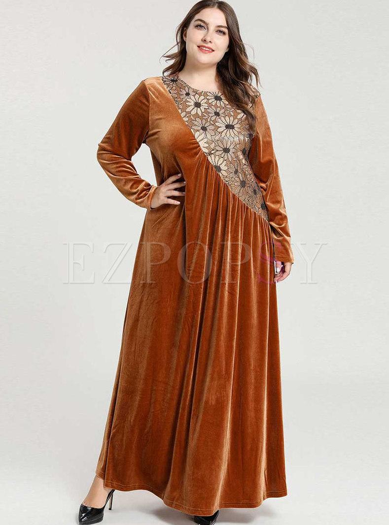 Plus Size Jacquard Patchwork Velvet Maxi Dress