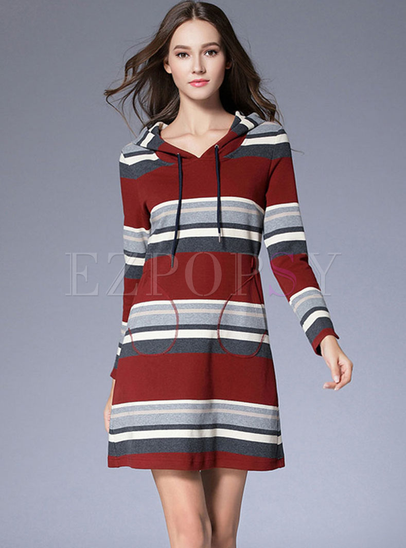 Long Sleeve Striped Hooded Sweater Dress