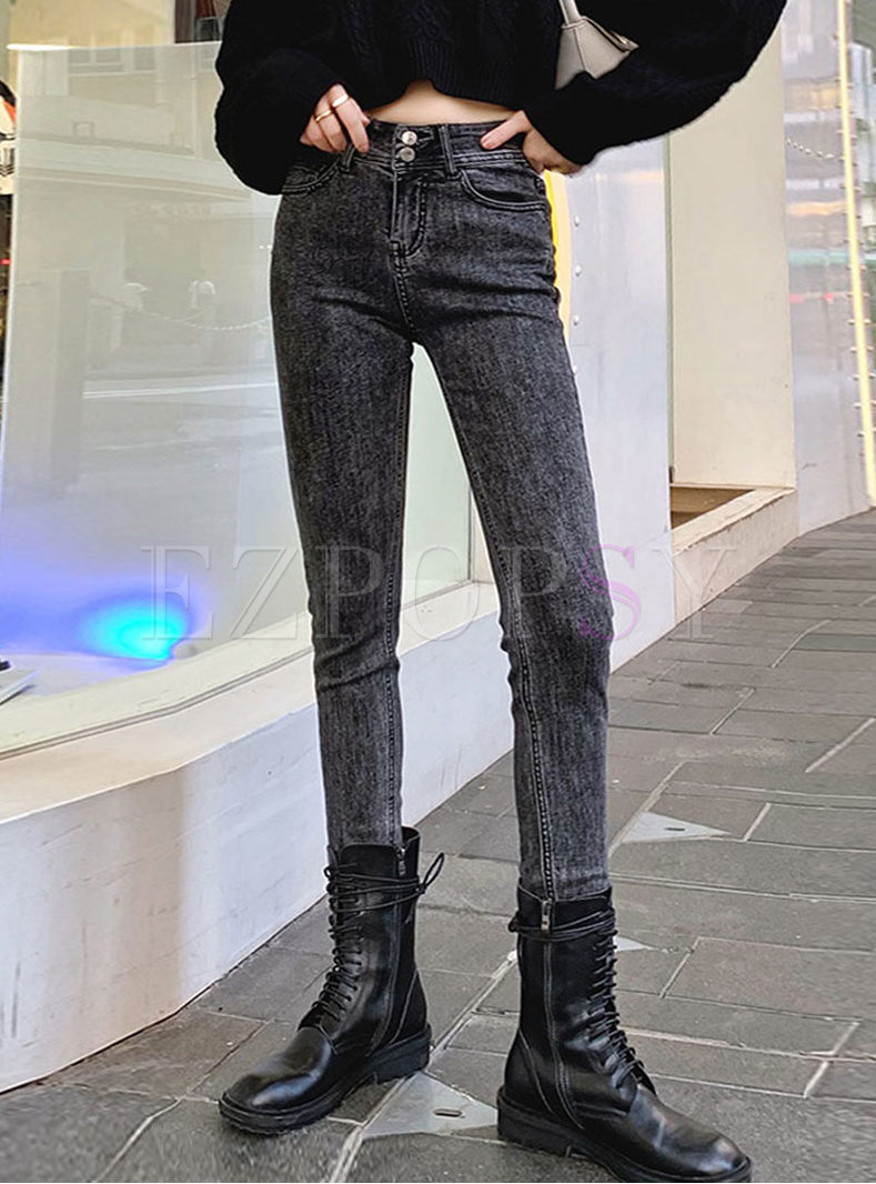High Waisted Long Slim Pencil Jeans