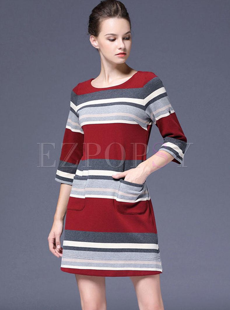 Crew Neck Striped Sweater Mini Dress