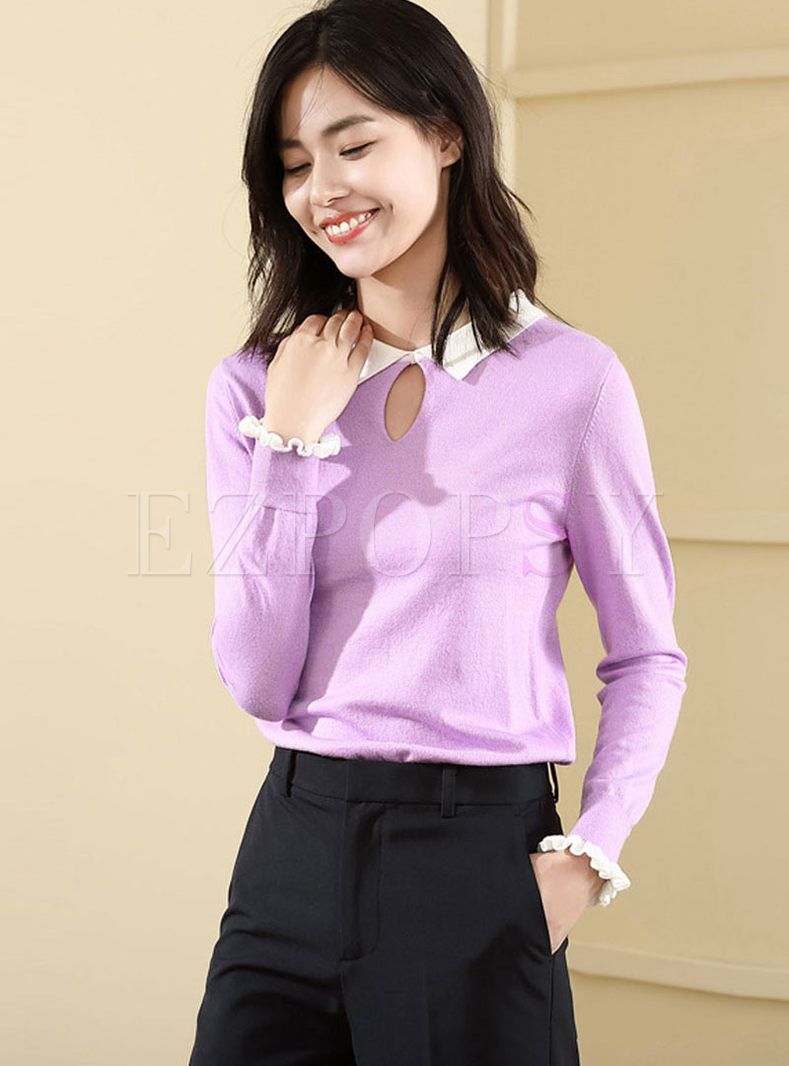 Color-blocked Long Sleeve Falbala Sweater