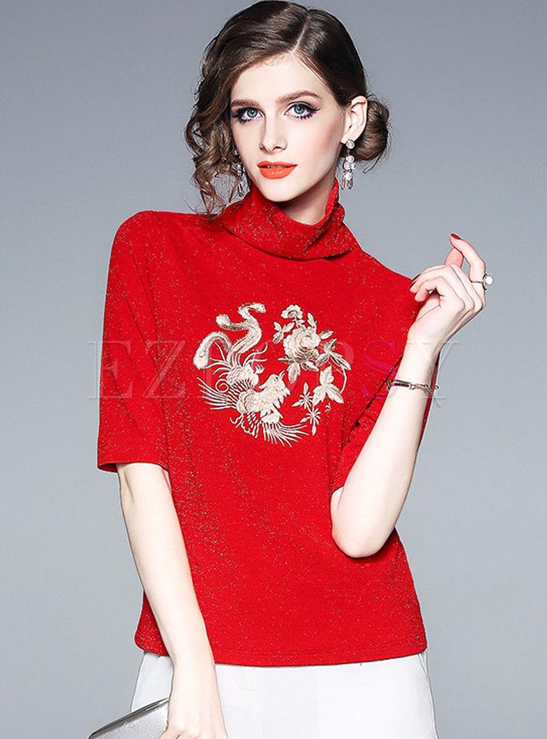 Turtleneck Half Sleeve Embroidered T-shirt