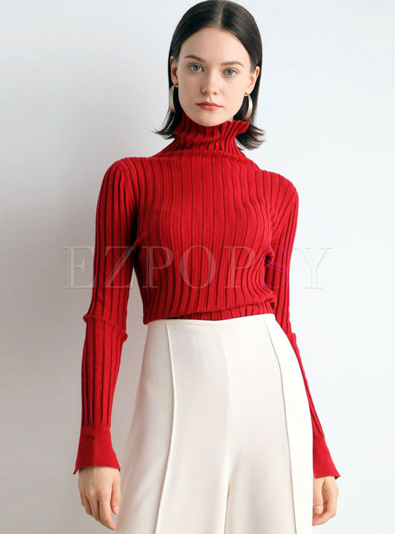 Turtleneck Pullover Slim Ribbed Sweater