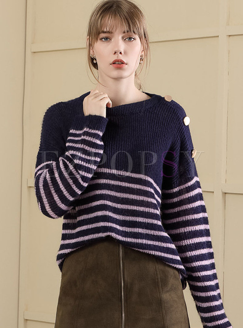Color-blocked Striped Pullover Loose Sweater