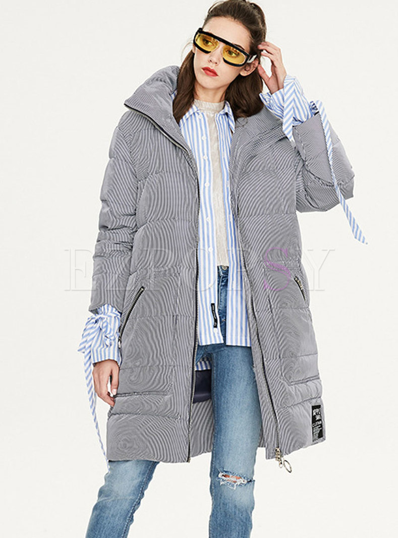 Striped Hooded Loose Puffer Coat