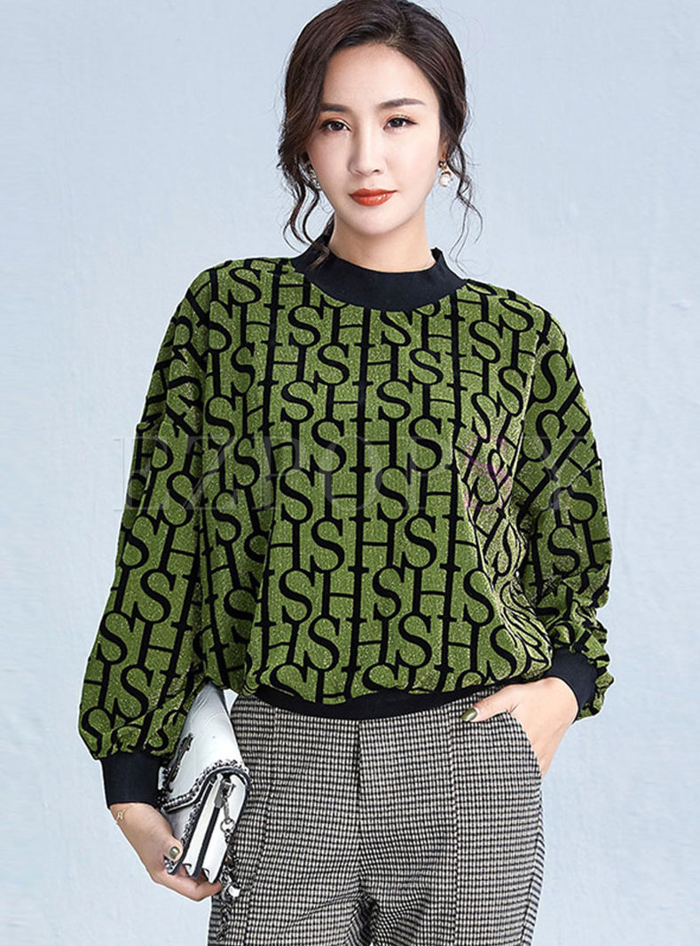 Letter Print Pullover Loose T-shirt