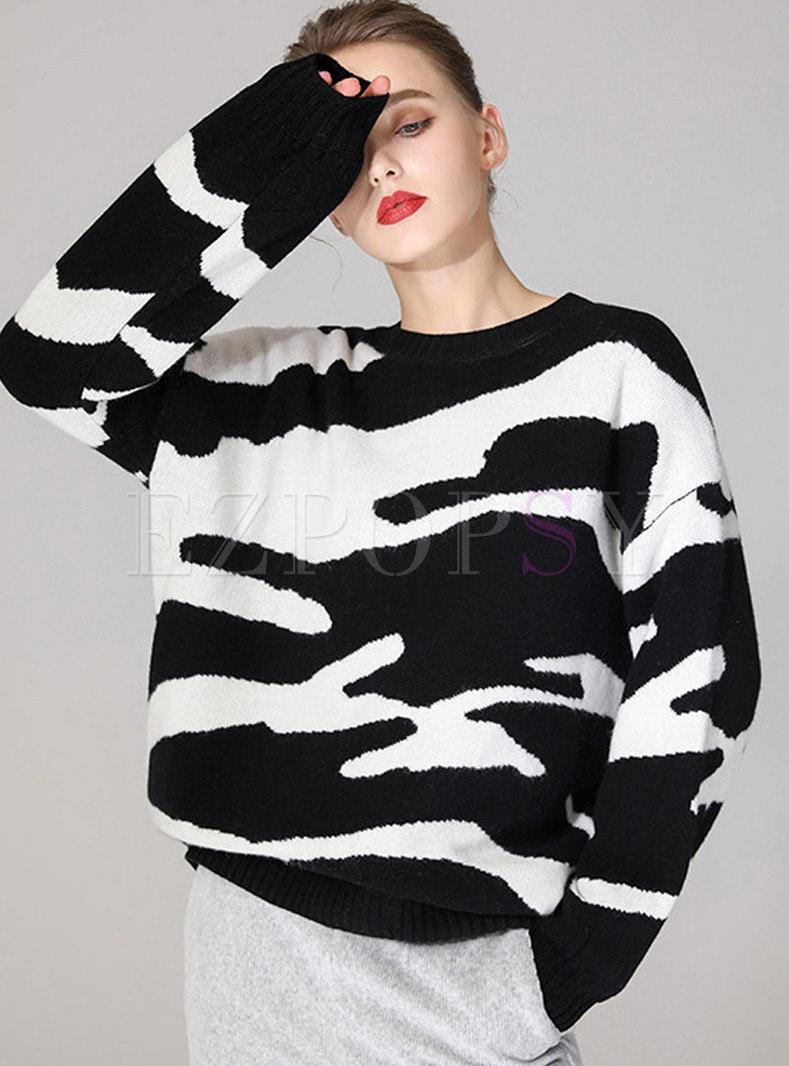 Crew Neck Zerba Loose Wool Sweater