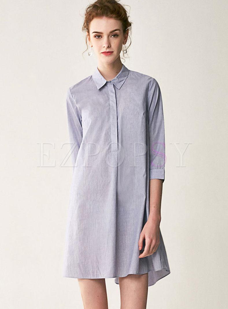 Lapel Pullover Loose Shift Shirt Dress
