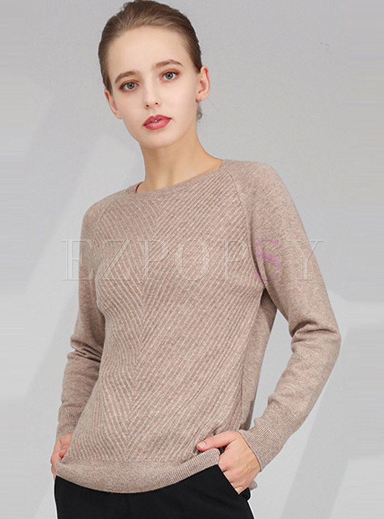 Solid Color Crew Neck Pullover Wool Sweater
