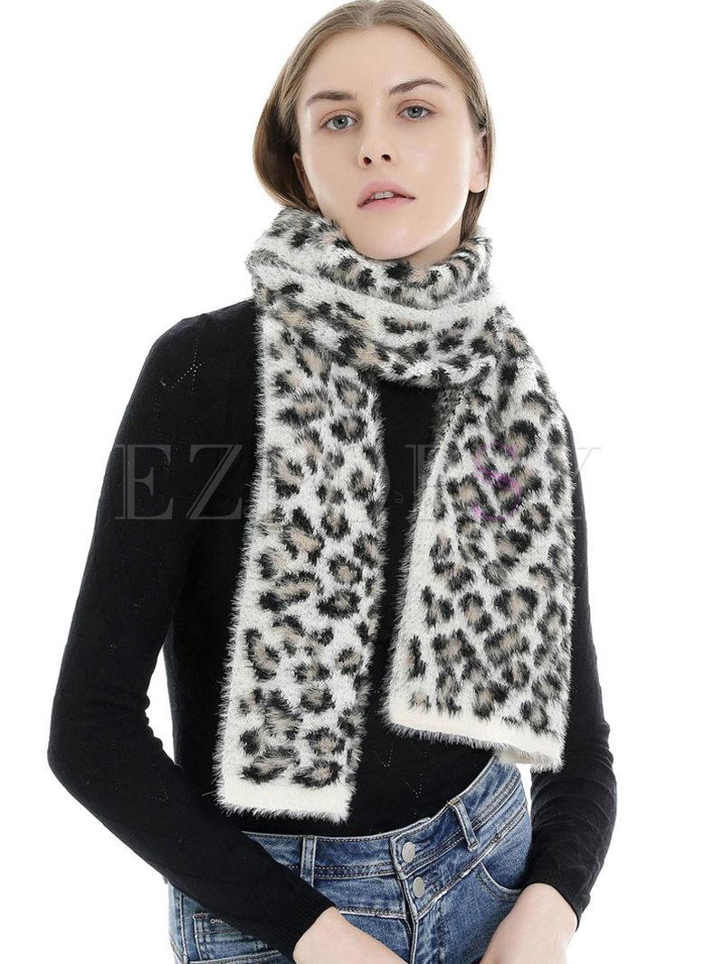 Leopard Print Faux Cashmere Scarf