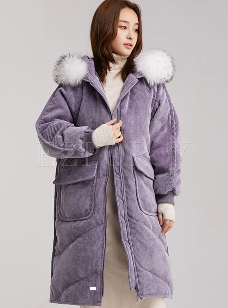 Hooded Corduroy Down Coat With Fur Collar