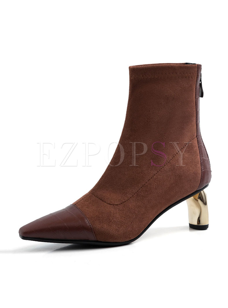 Pointed Head Thick Heel Short Boots