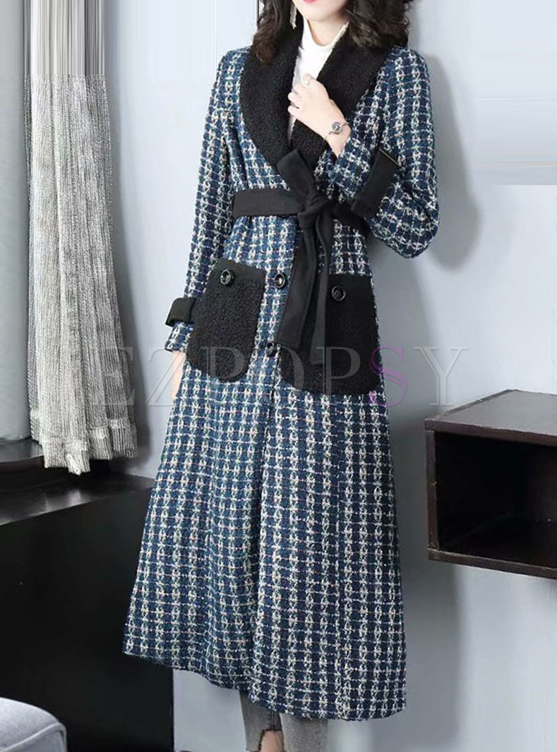 Patchwork Plaid Thick A Line Coat With Belt