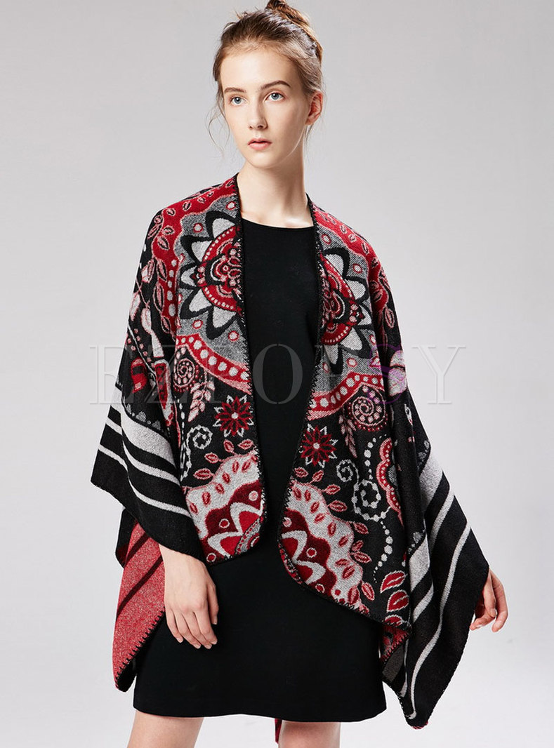 Jacquard Color-blocked Thick Cloak Scarf