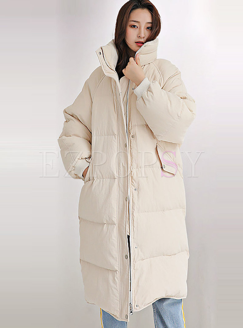 Solid Color Straight Loose Long Puffer Coat