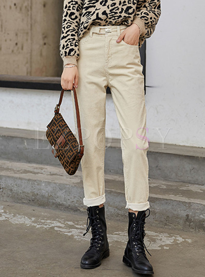 High Waisted Corduroy Tapered Pants